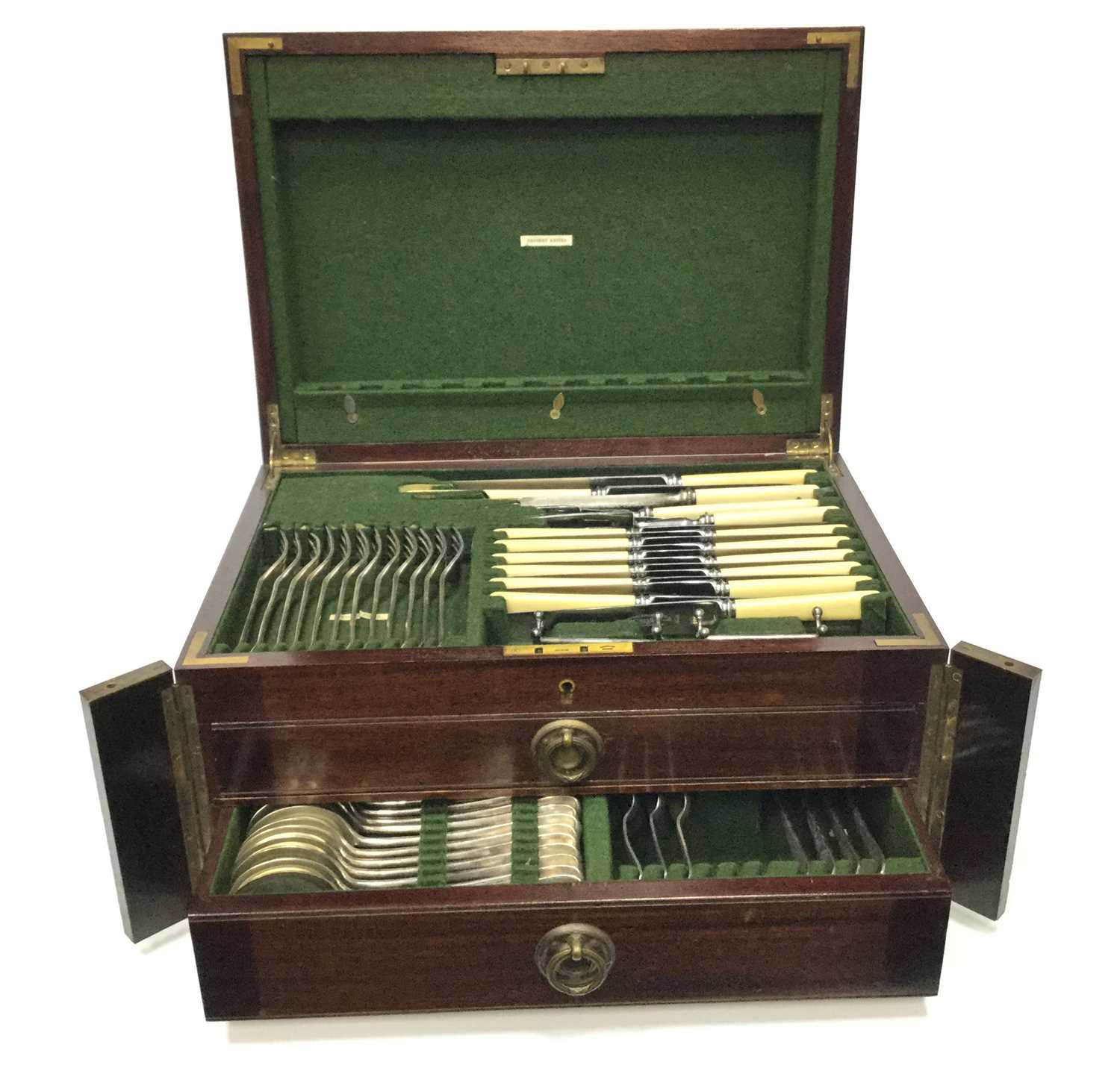Lot 835-A CANTEEN OF EARLY 20TH CENTURY SILVER PLATED ABLE APPOINTMENTS