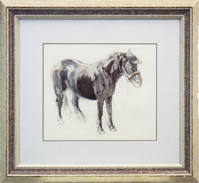 Lot 608-STUDY OF A PONY, A WATERCOLOUR BY NANCY JANE BURTON