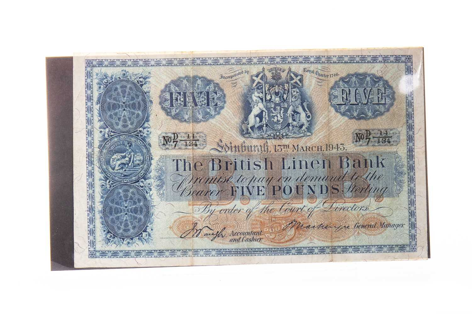 Lot 510 - A THE BRITISH LINEN BANK £5 FIVE POUNDS NOTE 1943