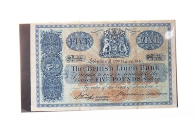 Lot 510-A THE BRITISH LINEN BANK £5 FIVE POUNDS NOTE 1943