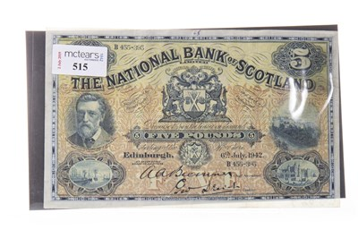 Lot 515-THE NATIONAL BANK OF SCOTLAND £5 NOTE 1942