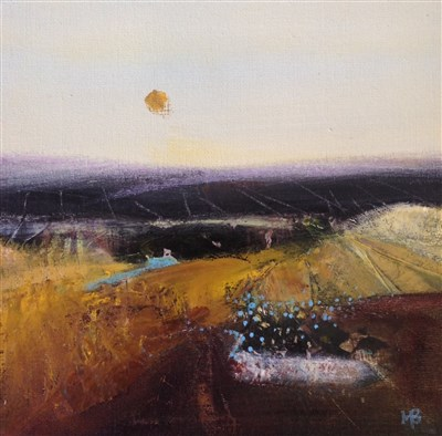 Lot 722 - HILLS OF HEATHER, HEBRIDES, A MIXED MEDIA BY MAY BYRNE