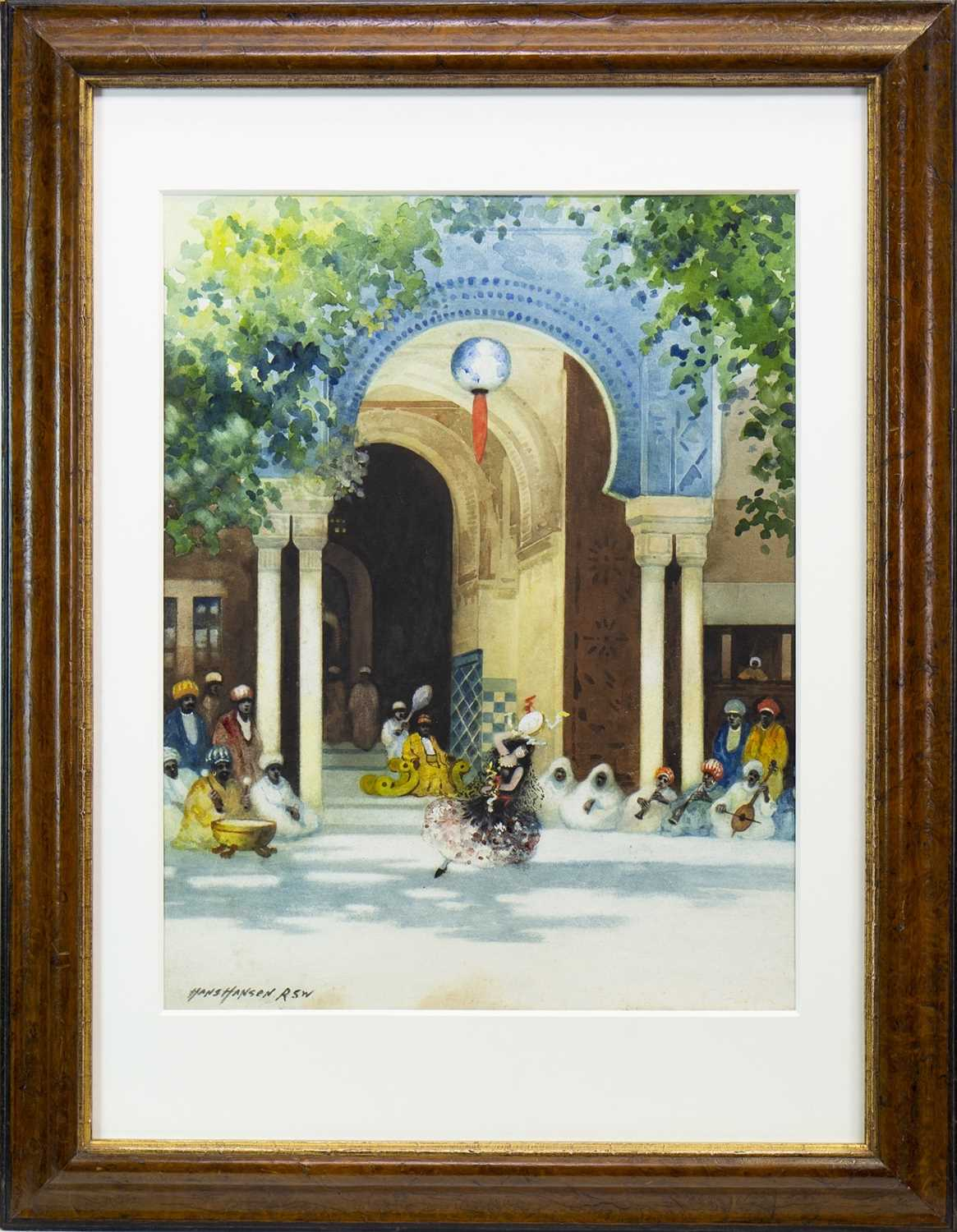 Lot 450-A DANCE FOR THE SULTAN, A WATERCOLOUR BY HANS HANSEN RSW