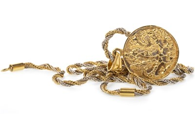 Lot 149 - AN ANCIENT COIN MOTIF PENDANT ON CHAIN