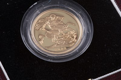 Lot 511 - A THE ROYAL MINT PROOF SOVEREIGN 2003
