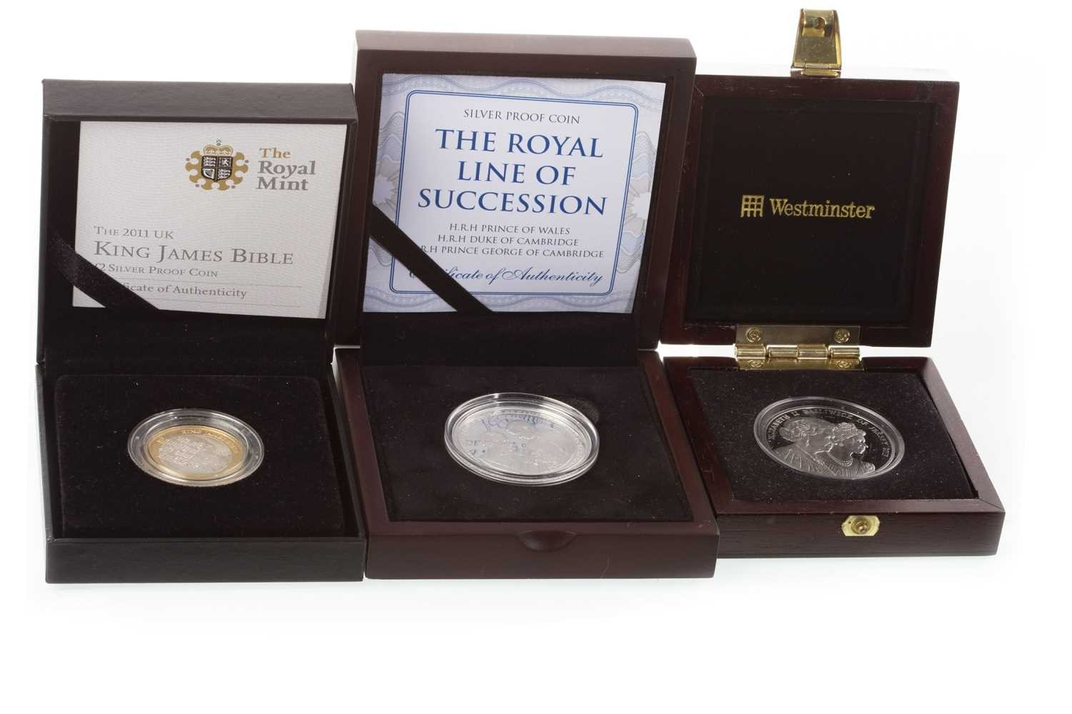 Lot 530-THREE SILVER PROOF COINS