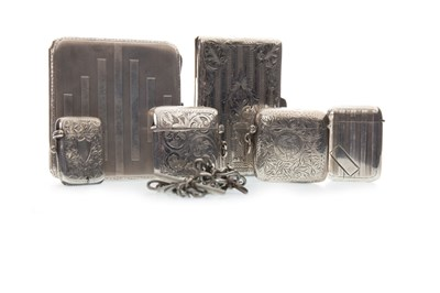 Lot 837-A LOT OF SILVER FOUR VESTAS AN AIDE MEMOIRE, CIGARETTE CASE AND MEDAL