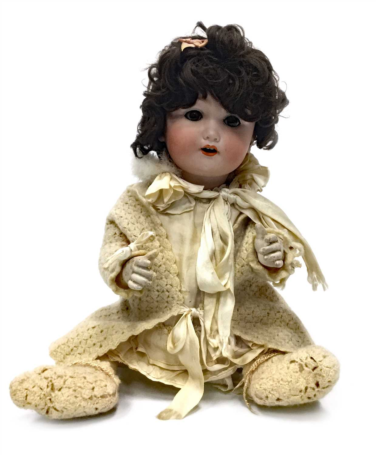Lot 905-AN EARLY 20TH CENTURY GERMAN BISQUE HEADED DOLL