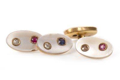 Lot 17 - A PAIR OF MOTHER OF PEARL, DIAMOND AND GEM SET CUFF LINKS