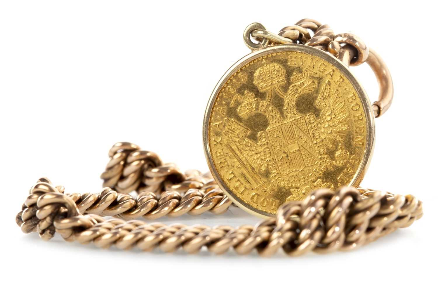 Lot 532-AN AUSTRIAN GOLD COIN DATED 1815 ON A BRACELET