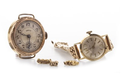 Lot 827 - A LADY'S ZENITH GOLD WATCH AND ANOTHER