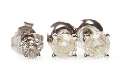 Lot 26-THREE DIAMOND EARRINGS