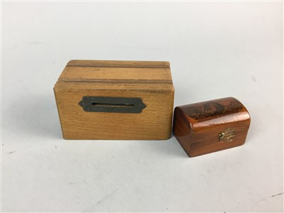 Lot 6-A WOOL WINDER, A MAUCHLINE WARE BOX, A MONEY BANK AND TWO CARVED BOXES