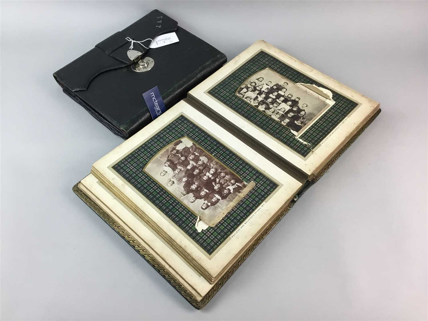 Lot 7-A VICTORIAN PHOTOGRAPH ALBUM AND A LEATHER TRAVELLING CORRESPONDENCE SET