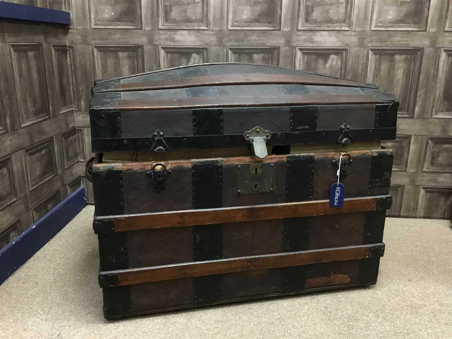 Lot 8-A METAL BOUND TRUNK AND A SHIP'S COMPASS
