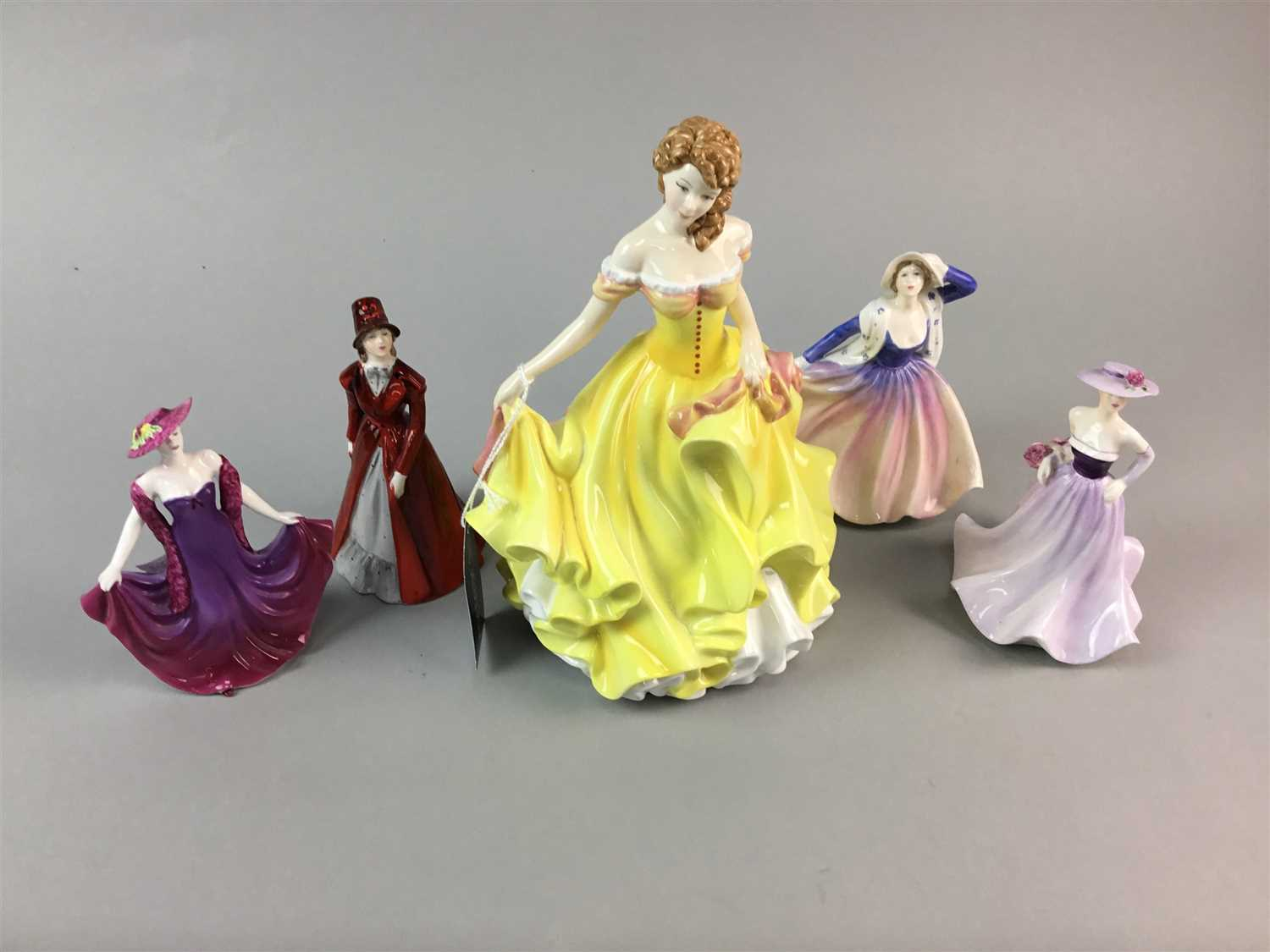 Lot 12-A ROYAL DOULTON FIGURE OF SUMMER AND FOUR COALPORT FIGURES
