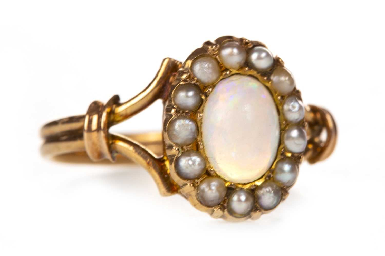 Lot 8 - A LATE VICTORIAN OPAL AND PEARL RING