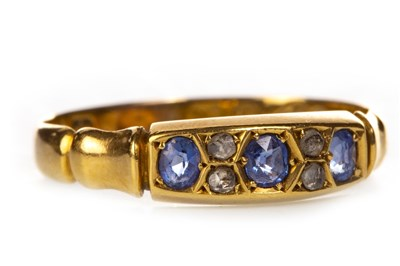 Lot 221 - A VICTORIAN BLUE GEM AND DIAMOND SET BAND