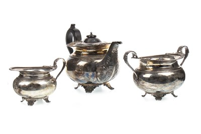 Lot 842-AN EARLY 20TH CENTURY THREE PIECE SILVER TEA SERVICE