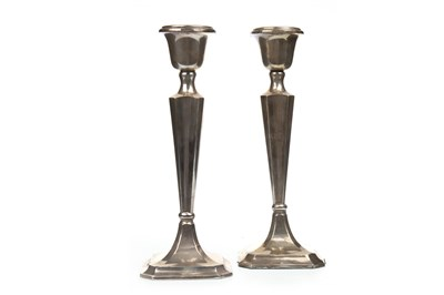 Lot 844-A PAIR OF GEORGE V SILVER CANDLESTICKS