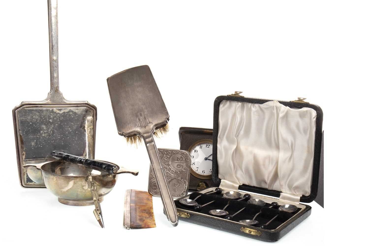 Lot 847-A SILVER QUAICH WITH SILVER COFFEE SPOONS, SILVER BACKED DRESSING TABLE APPOINTMENTS AND OTHER ITEMS