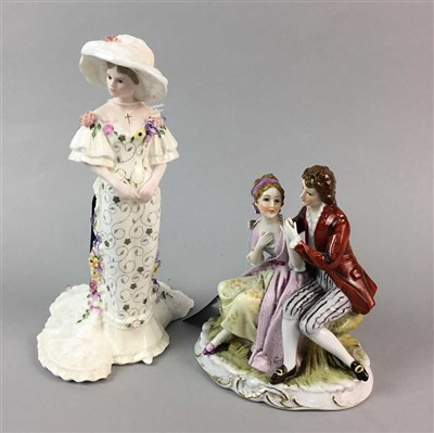 Lot 14-A COALPORT FIGURE OF A LADY AND A CONTINENTAL FIGURE GROUP