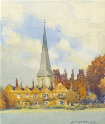 Lot 522-THE OLD CHURCH SPIRE, A WATERCOLOUR BY JAMES PATERSON