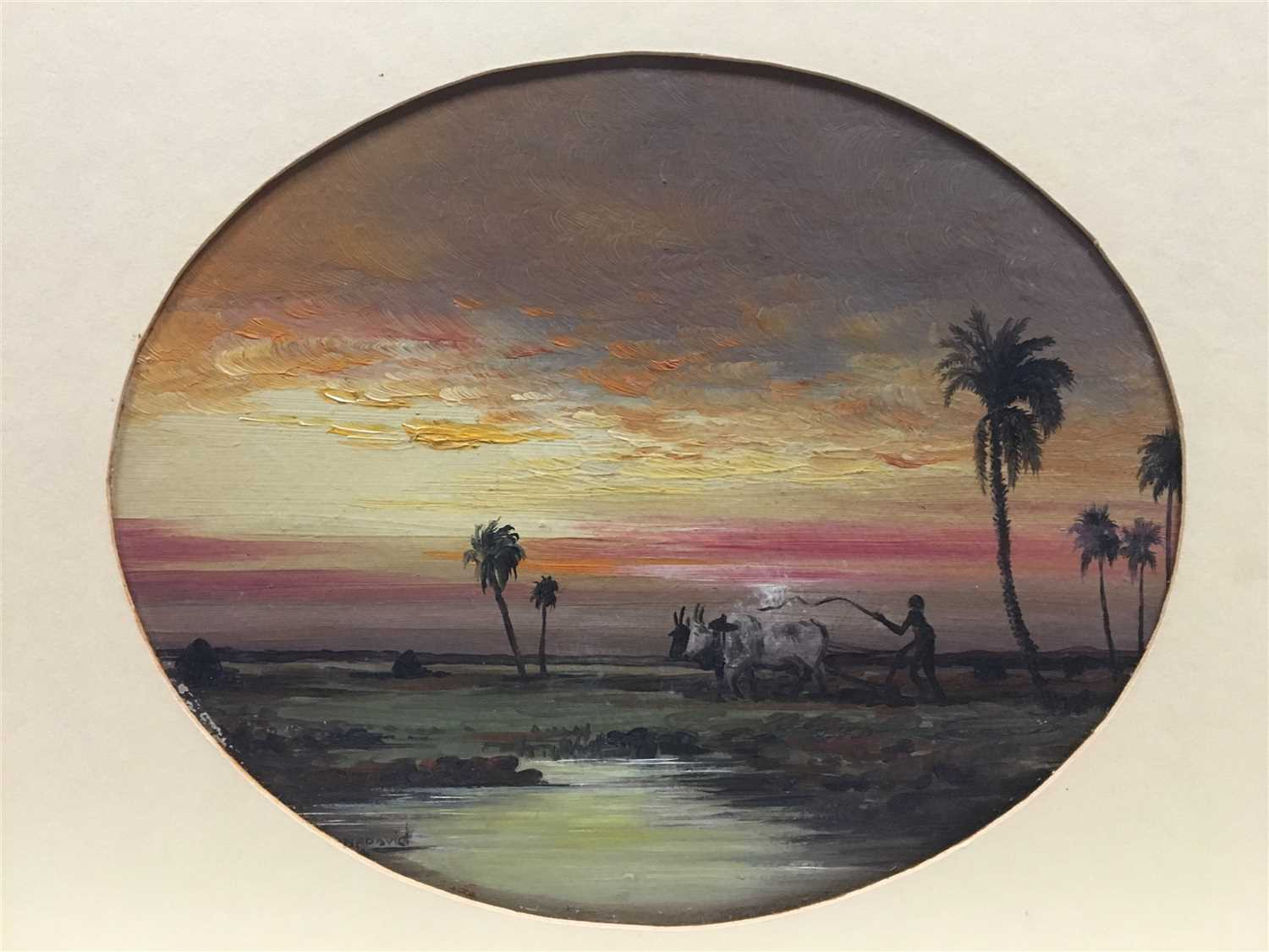 Lot 468-INDIAN SUNSET ON THE FARM, A WATERCOLOUR ATTRIBUTED TO HERMINE DAVID