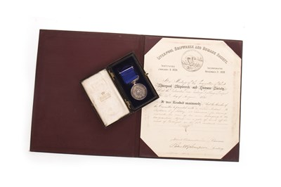 Lot 847 - A LIVERPOOL SHIPWRECK AND HUMANE SOCIETY MEDAL AWARDED TO CAPT. C. J. KILLEY