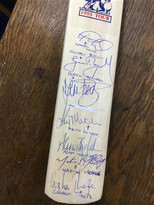 Lot 17-A COMMEMORATIVE CRICKET BAT FOR THE ENGLAND V. AUSTRALIA 1933 TOUR AND A MATCH TICKET