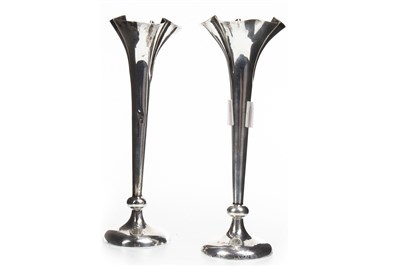 Lot 854-A PAIR OF EDWARDIAN FLOWER TRUMPET VASES