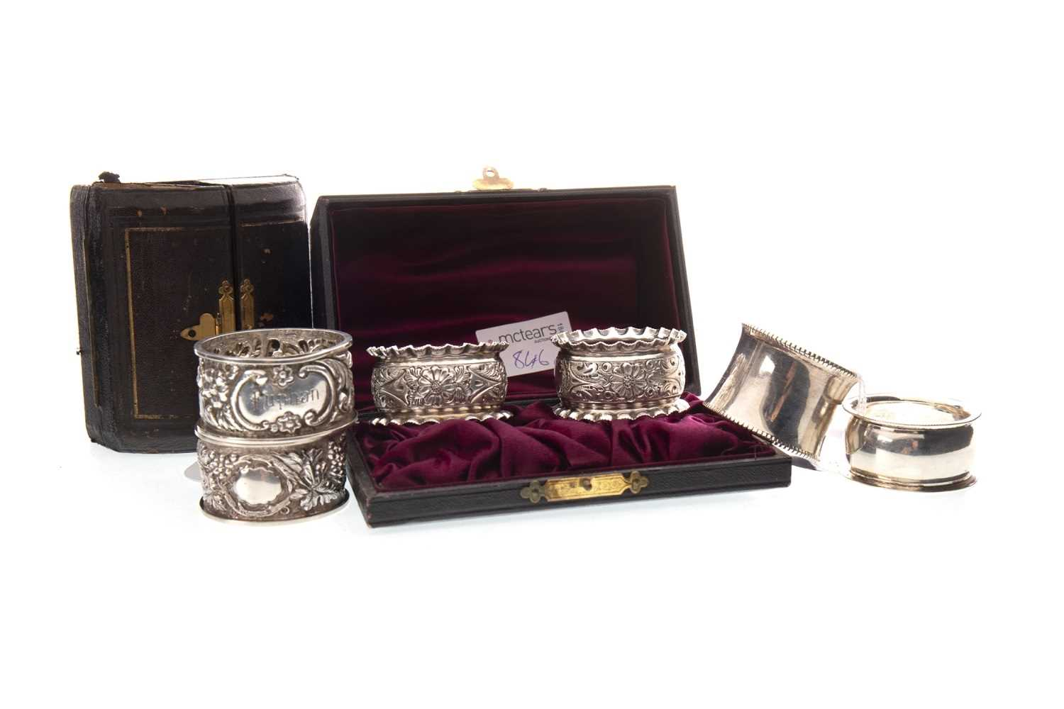 Lot 846-A LATE VICTORIAN SILVER NAPKIN RING AND FIVE OTHERS