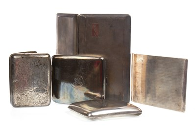Lot 855-A LOT OF FOUR GEORGE V SILVER CIGARETTE CASES AND ANOTHER
