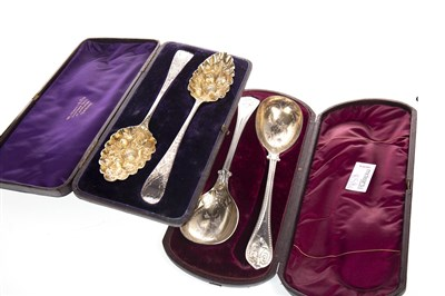 Lot 859-A PAIR OF GEORGE III SILVER AND PARCEL GILT SERVING SPOONS AND ANOTHER PAIR OF SPOONS