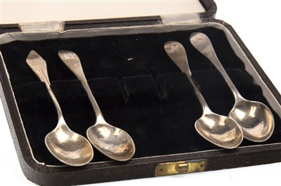 Lot 861-A SET OF FOUR SILVER SAUCE LADLES ALONG WITH SILVER SPOONS