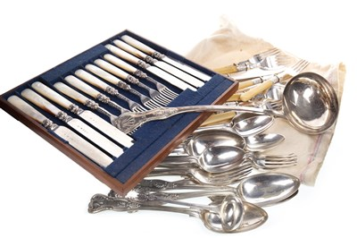 Lot 865-A PART SUITE OF SILVER PLATED KINGS PATTERN TABLE APPOINTMENTS WITH OTHER PLATED FLATWARE