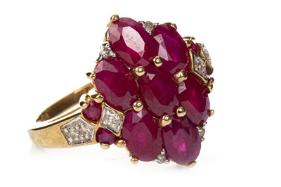 Lot 30-RED GEM AND DIAMOND DRESS RING