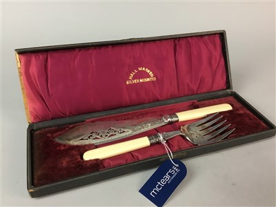 Lot 48-A VICTORIAN PLATED FISH SLICE AND FORK AND OTHER CUTLERY