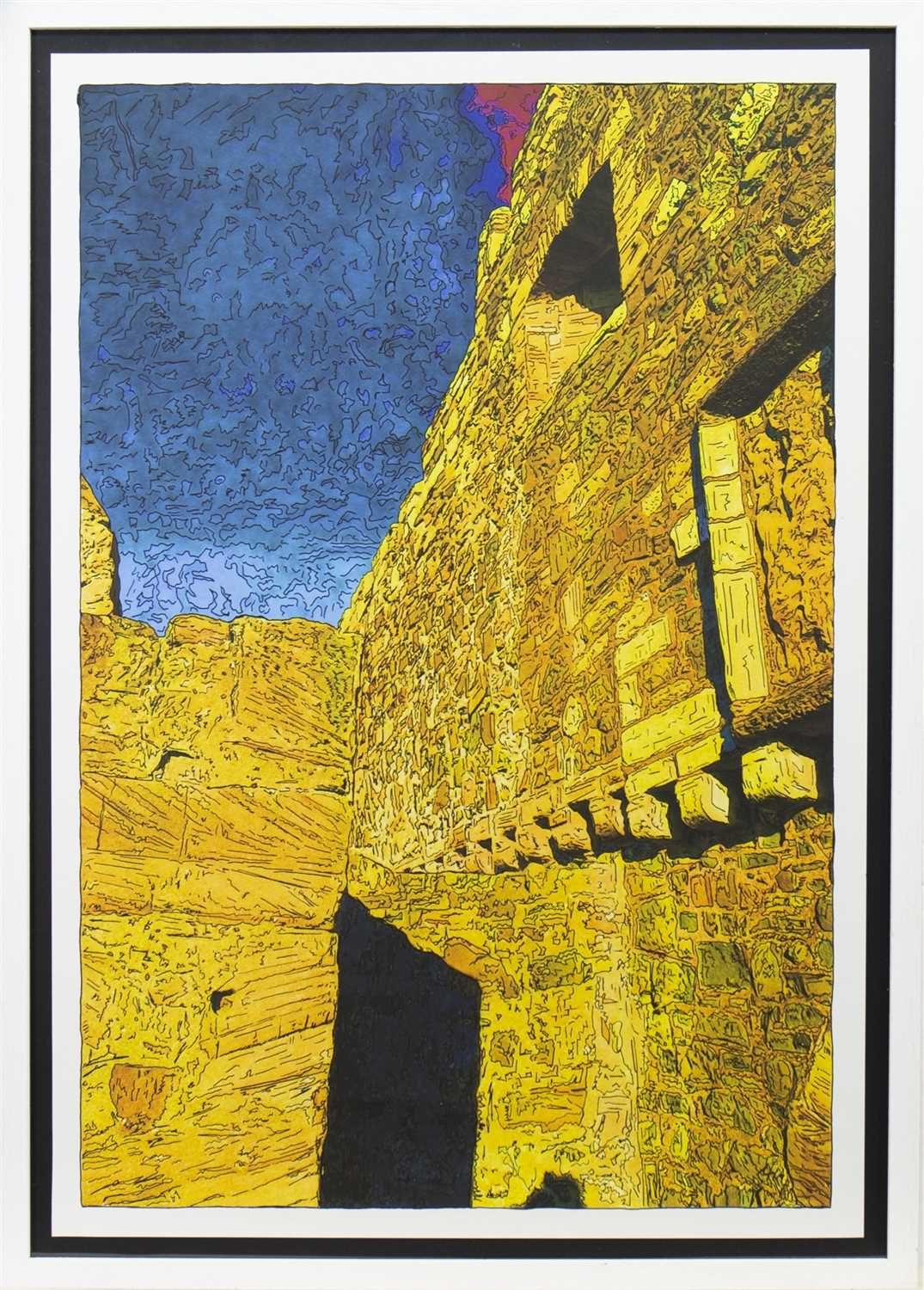 Lot 511-ALL ALONG THE WATCHTOWER, PEN OVER PRINT BY PETER J SCOTT