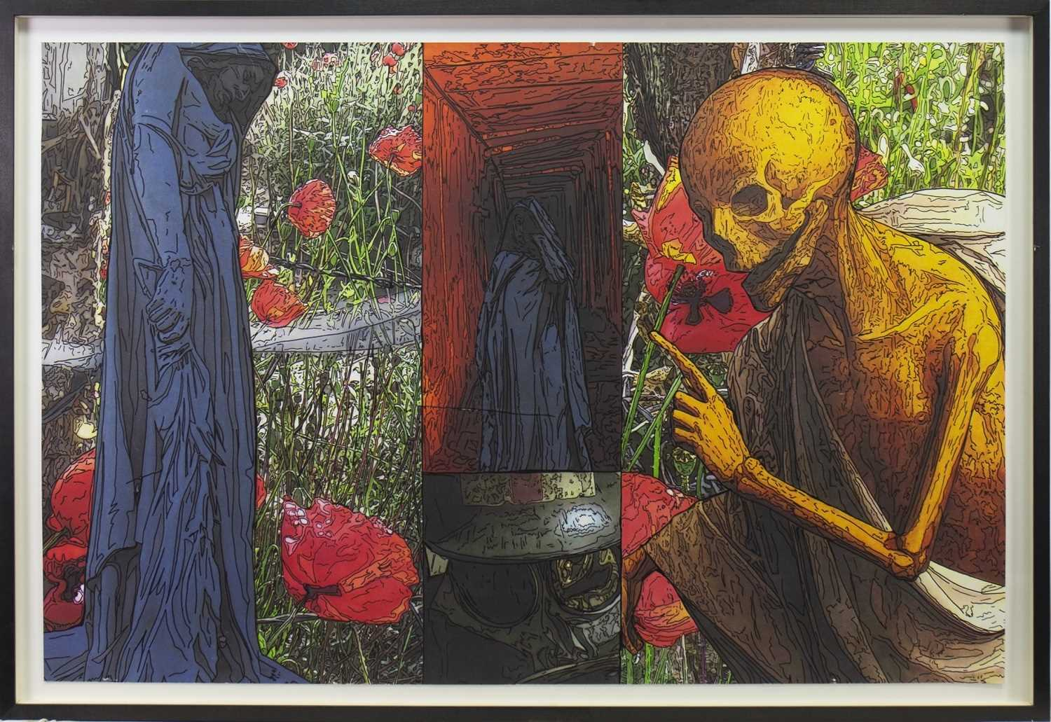 Lot 516-LIFE AND DEATH, PEN OVER PRINT BY PETER J SCOTT