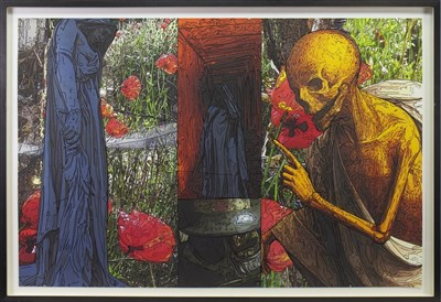 Lot 76 - LIFE AND DEATH, A MIXED MEDIA PRINT BY PETER J SCOTT