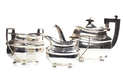 Lot 866-AN EARLY 20TH CENTURY SILVER THREE PIECE TEA SERVICE
