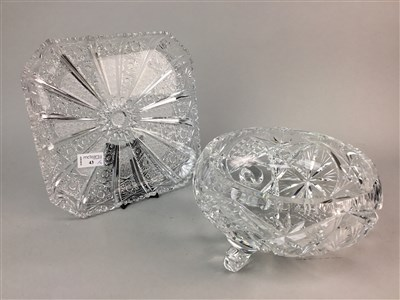 Lot 43-A COLLECTION OF CUT GLASS AND CRYSTAL BOWLS, JUG AND PLATTER