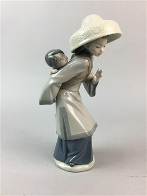 Lot 42-A LLADRO FIGURE OF A CHINESE WOMAN AND A ROYAL DOULTON CHARACTER JUG