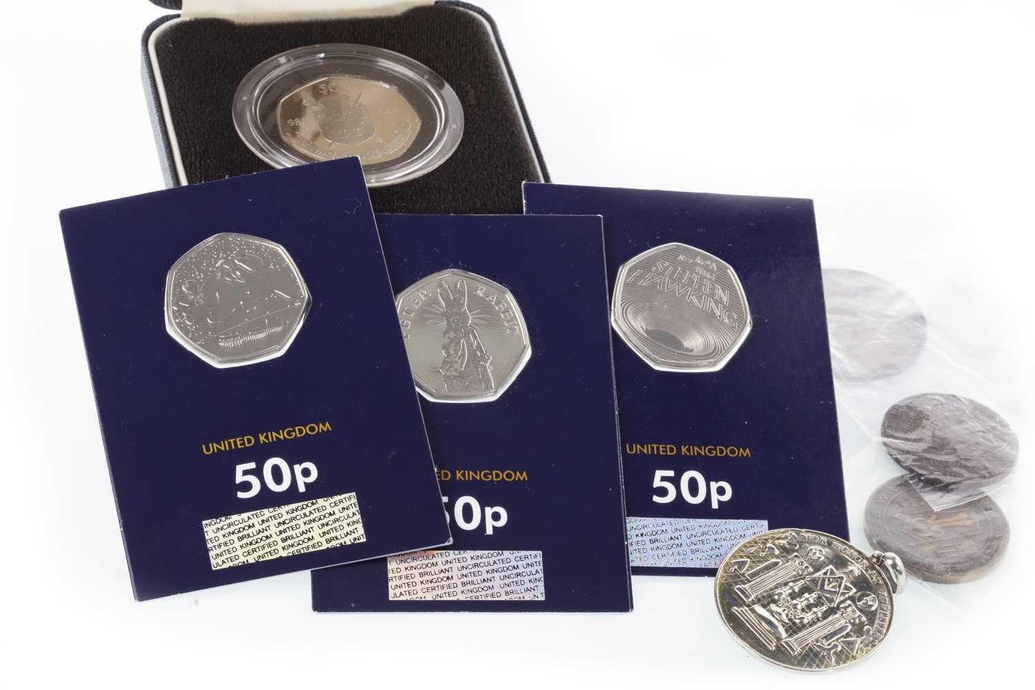 Lot 546-A MASONIC PENDANT ALONG WITH VARIOUS COINS AND TOKENS