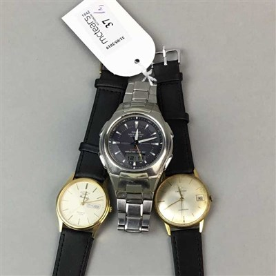 Lot 37-A CASION WAVE CEPTOR WRIST WATCH AND TWO OTHER WATCHES