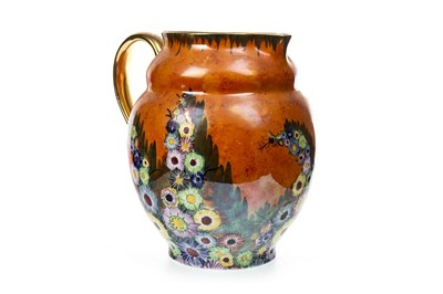 Lot 1230-AN EARLY 20TH CENTURY CARLTON WARE 'HOLLYHOCK' PATTERN JUG