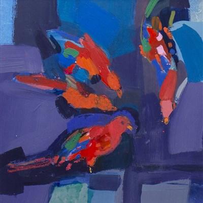 Lot 503-LITTLE BIRDS, AN OIL BY CLAIRE HARRIGAN