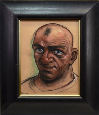 Lot 504-HEAD STUDY, AN OIL BY PETER HOWSON
