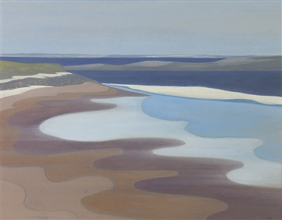 Lot 505-ORKNEY BEACH, A WATERCOLOUR BY BET LOW